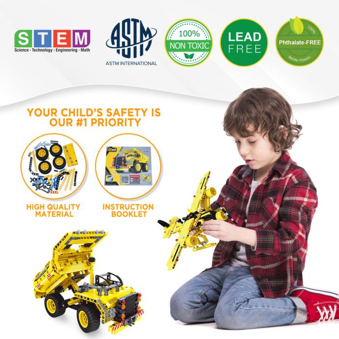 Oakkart Best Gift for Boys Birthday Easter, Chrismas, Stem Toys building set for Kids for age 8-12, Truck building kit, Airplane building set