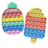 Oakkart Push Pop Fidget Toy 2 Pack it Bubble Popping Sensory Toys Silicone Poppits Popper Game its Rainbow Icecream Pineapple Set for Boys Girls Adults Stress Relief for Autism